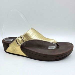 FitFlop The Skinny Gold Leather Thong Sandals 9